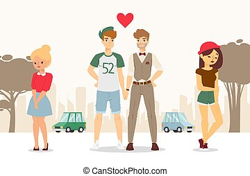 Gay couple coming out, upset girlfriends vector illustration