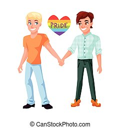 Gay couple holding hands illustration