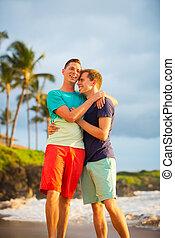 Gay couple on the beach