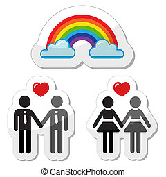 Gay couple ranbow icons - Gay rights icons isolated on white...
