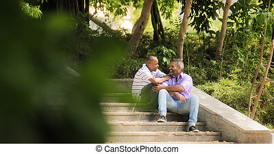 Gay Couple Two Homosexual Men Meeting In Park - Homosexual...