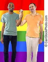 Gay Couple with Rainbow Flag
