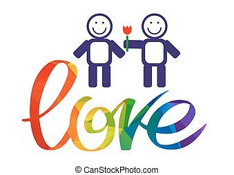 Gay couple with rainbow