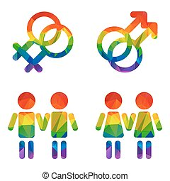 gay couples - Gay couples set isolated on a white...