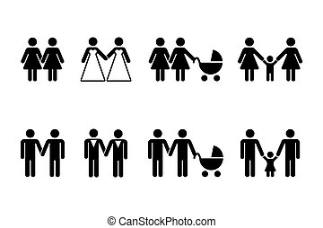 gay, famille, icônes, vecteur, blanc, enfants