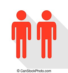 Gay family sign. Red icon with flat style shadow path.