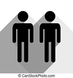 Gay family sign. Vector. Black icon with two flat gray shadows on white background.