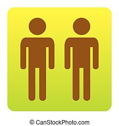 Gay family sign. Vector. Brown icon at green-yellow gradient square with rounded corners on white background. Isolated.
