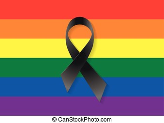 Gay flag black ribbon - Gay and lesbian flag with a black...