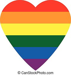 Gay flag button in the form of heart. Vector illustration.