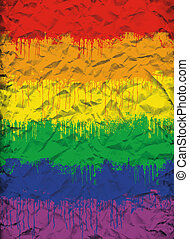 gay flag - grunge crumpled image of gay and lesbian flag