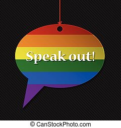 Gay flagged speech bubble with text and striped background