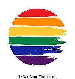 Grunge rainbow frame isolated on white background. Gay pride symbol. LGBT community symbol.
