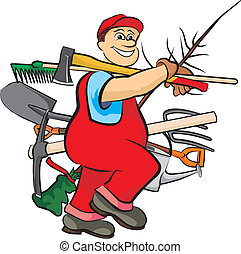 hardworking gardener with several tools for gardening