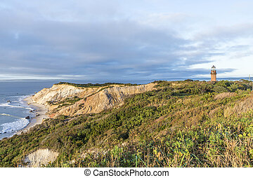 Gay Head Lighthouse and Gay Head cliffs of clay at the westernmost point of Martha's Vineyard in Aquinnah