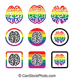 Gay Human brain icons set - rainbow