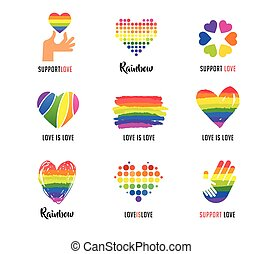 gay, lgbt, collection, de, symboles, icônes, et, logos, à, arc-en-ciel, coeur, mains