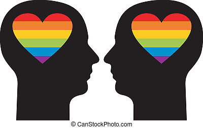 Gay love - Silhouettes of a gay couple with colorfull hearts...