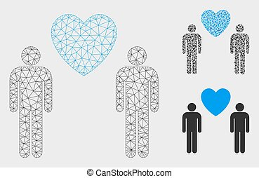 Gay Lovers Vector Mesh 2D Model and Triangle Mosaic Icon