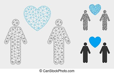 Gay Lovers Vector Mesh Carcass Model and Triangle Mosaic Icon