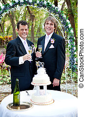 Gay Male Couple at Wedding Reception