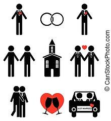 Gay man 2 wedding icon set in black