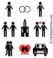 Gay man 2 wedding icon set in black