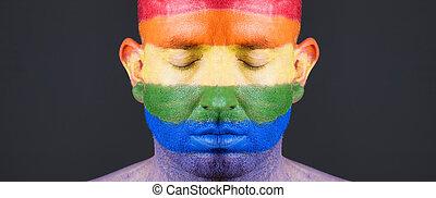 gay, man., figure, drapeau, peint