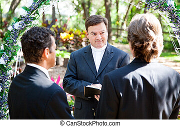 Gay Marriage Ceremony - Minister performing marriage...