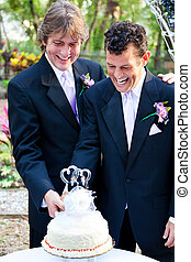 Gay Marriage - Cutting Cake Together - Two happy grooms...