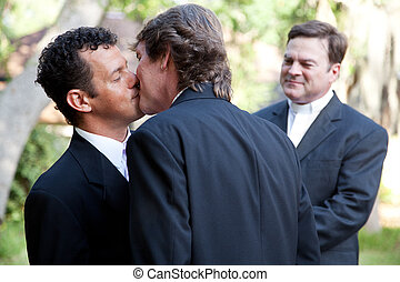 Gay Marriage - Kiss the Groom - Wedding of handsome gay male...