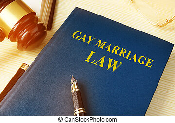 Gay marriage law on a wooden desk.