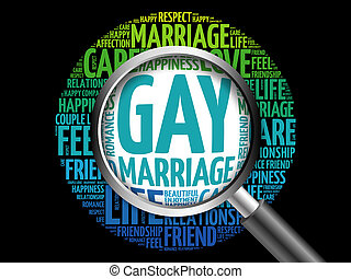 Gay marriage word cloud with magnifying glass