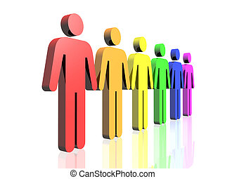 gay men flag side - a row of gay flag colored man signs