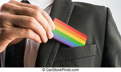 gay, peint, retirer, bois, drapeau, fierté, carte, homme