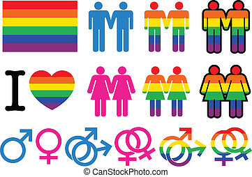 Gay pictogrammes with flag, homosexual couples signs