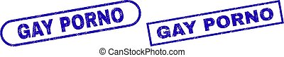 GAY PORNO Blue Rectangle Seal with Grunged Texture - Blue ...