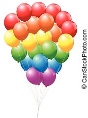 Gay pride balloons - rainbow colored, symbol for the gay community - isolated vector illustration on white background.