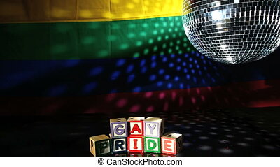 Gay pride blocks at the disco with disco ball and rainbow...