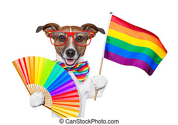 gay pride dog waving a rainbow flag