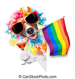 gay pride dog with rainbow gay flowers