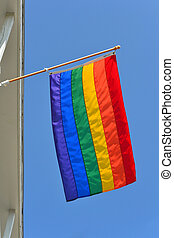 Gay Pride Flag 3 - A gay pride flag waving in the wind...