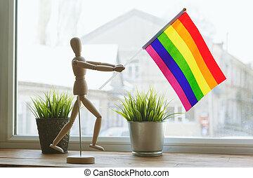 Gay pride flag, close up. creative photo.