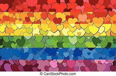 Gay pride flag made of hearts background - Illustration, Rainbow flag with hearts background