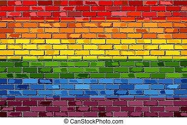 Gay pride flag on a brick wall