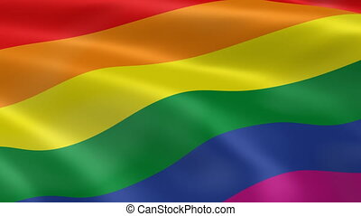 Gay pride flag in the wind. Part of a series.