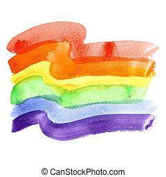 Gay Pride Flag - Watercolor rainbow Gay Pride Flag isolated...