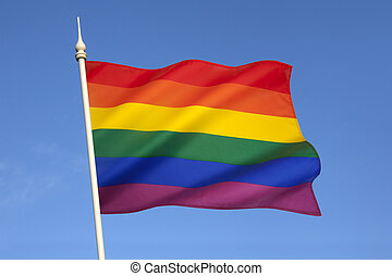 Gay Pride Flag - The rainbow flag or gay pride flag, is a...