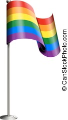 Gay pride flag vector isolated on white. All elements sorted...