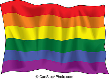 Gay pride flag - Waving flag of Gay pride isolated on white